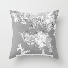 Hong Kong Map Line Throw Pillow