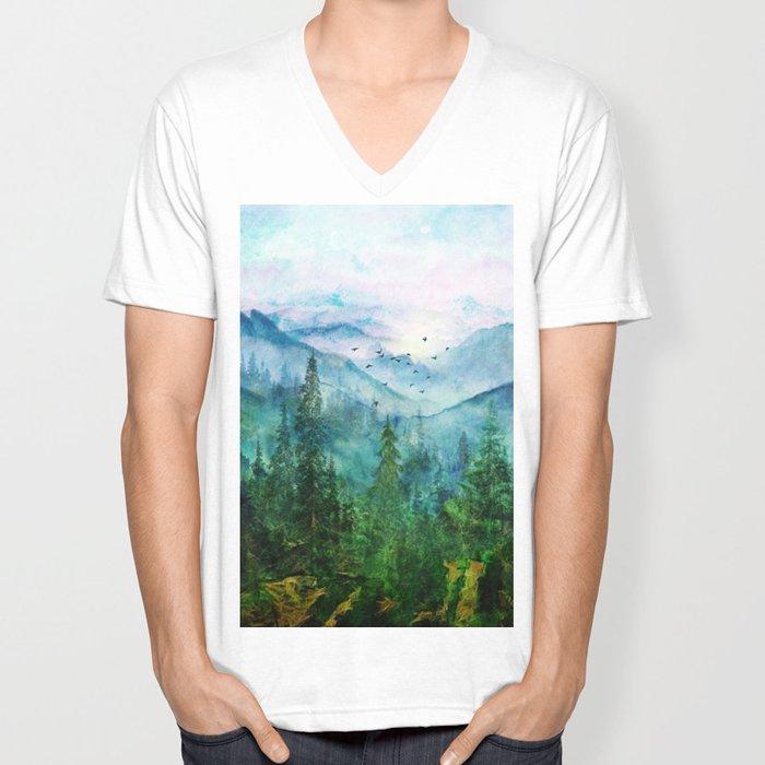 Spring Mountainscape Unisex V-Neck