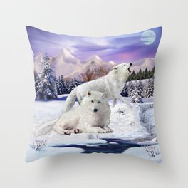 Snow Wolves of the Wilderness Throw Pillow