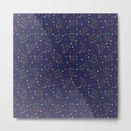 Mid mod multi colour arrows on blue Metal Print