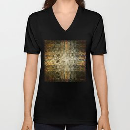 """Abstract golden river pebbles"" Unisex V-Neck"