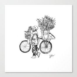 Bicycle Flower Seller in Hanoi in Pencil Canvas Print
