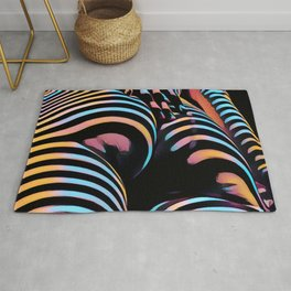 1937s-AK Striped Woman Hand Down Back Bum Butt Abstract Nude Female Ass Rug