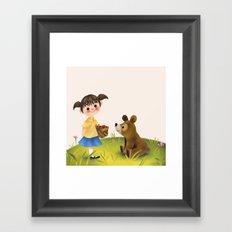 Girl Bear And The Basket Framed Art Print