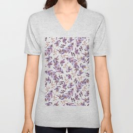Blush pink lavender watercolor hand painted floral pattern Unisex V-Neck