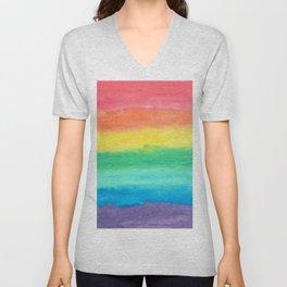 Colorful Watercolors Brush Strokes Unisex V-Neck