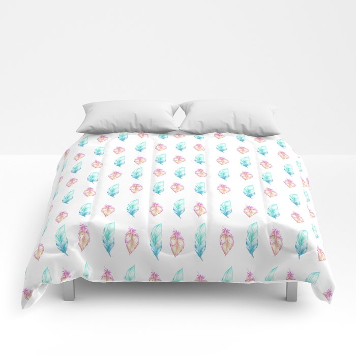 Blush pink teal watercolor hand painted feathers Comforters