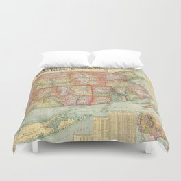 Vintage Map of New England States (1900) Duvet Cover