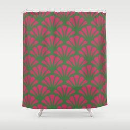 Kelly Green and Fuchsia Deco Fan Shower Curtain