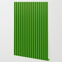 Bright Green and Black Vertical Var Size Stripes Wallpaper