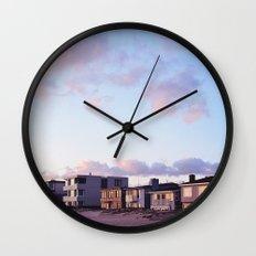 Midcentury Style Homes along the Beach, Sunset Beach, California Wall Clock
