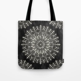 Vintage Mandala on black Tote Bag