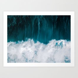 Minimalist image of a powerful wave breaking in the blue ocean – Landscape Photography Art Print