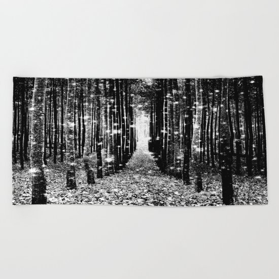 Magical Forest Black White Gray Beach Towel