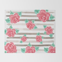 Stripes and Roses // Watercolor Throw Blanket