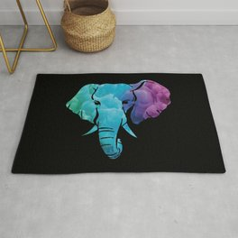 Elephant Art Abstract Colorful Rug