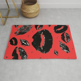 Kisses All Over (Black & Red) Rug