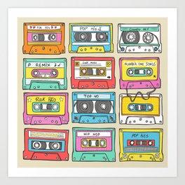 Nostalgia Audio Music Mix Cassette Tape Art Print