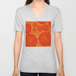 Red Marigolds Unisex V-Neck