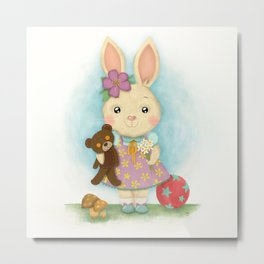 Cute bunny with teddy bear Metal Print