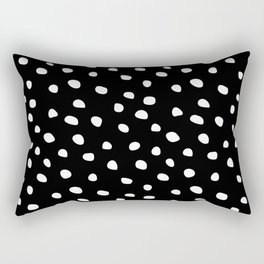 Abstract Dots on Black Rectangular Pillow