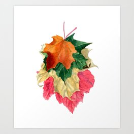Autumn Leaf Stack Art Print