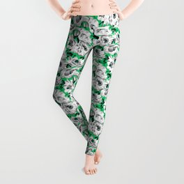 Mount Cook Lily - Green/White Leggings