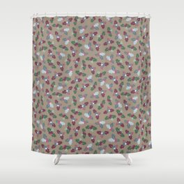 Holly Christmas Pattern Shower Curtain