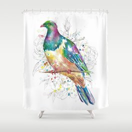 Sketchy Wood Pigeon (Kereru) Shower Curtain