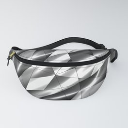 Exclusive mosaic pattern of chaotic black and white fragments of glass, metal, glare and ice floes. Fanny Pack