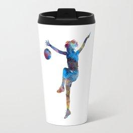 Woman soccer player 12 in watercolor Travel Mug