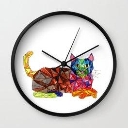 Colourful Geomatric Cat Wall Clock