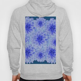 BLUE-WHITE DAHLIA FLOWERS IN  TEAL COLOR Hoody