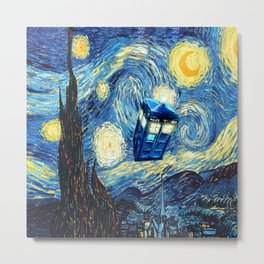 Soaring Tardis doctor who starry night oil painting Metal Print