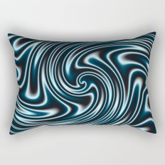 Blue and Black Licorice Ribbon Candy Fractal Rectangular Pillow