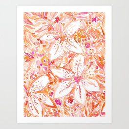 LILY SUNSET Peach Beachy Floral Art Print