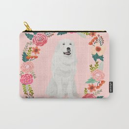 great pyrenees dog floral wreath dog gifts pet portraits Carry-All Pouch
