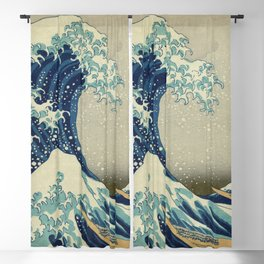 The Classic Japanese Great Wave off Kanagawa Print by Hokusai Blackout Curtain
