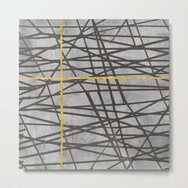 Black abstract black and gold lines on concrete -Mix&Match with Simplicty of life Metal Print