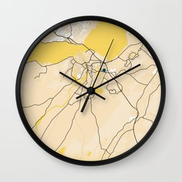 Inverness Yellow City Map Wall Clock