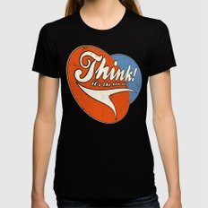 Think! Black LARGE Womens Fitted Tee
