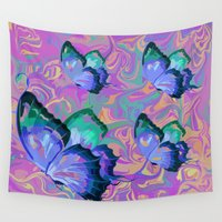 butterflies Wall Tapestries featuring butterflies by Shea33