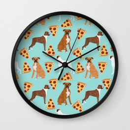 boxer pizza dog lover pet gifts cute boxers pure breeds Wall Clock