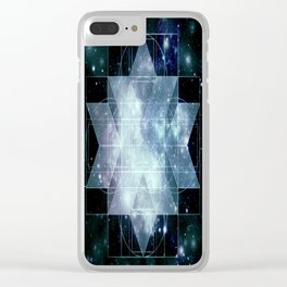 Galaxy Sacred Geometry Rhombic Hexecontahedron Blue Clear iPhone Case