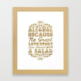 Gold Glitter Effect Typography Drinks Sign Framed Art Print