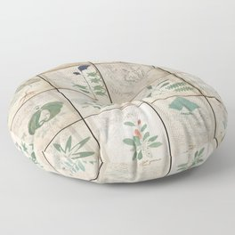The Voynich Manuscript Quire 1 - Natural Floor Pillow