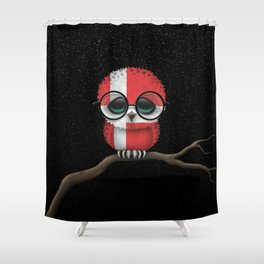 Baby Owl with Glasses and Danish Flag Shower Curtain