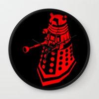 dalek Wall Clocks featuring Dalek by InvaderDig