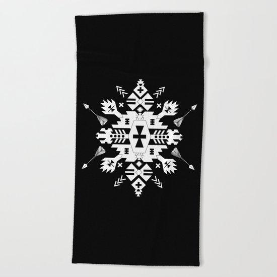 Black and White Ethnic Aztec Ornament Beach Towel