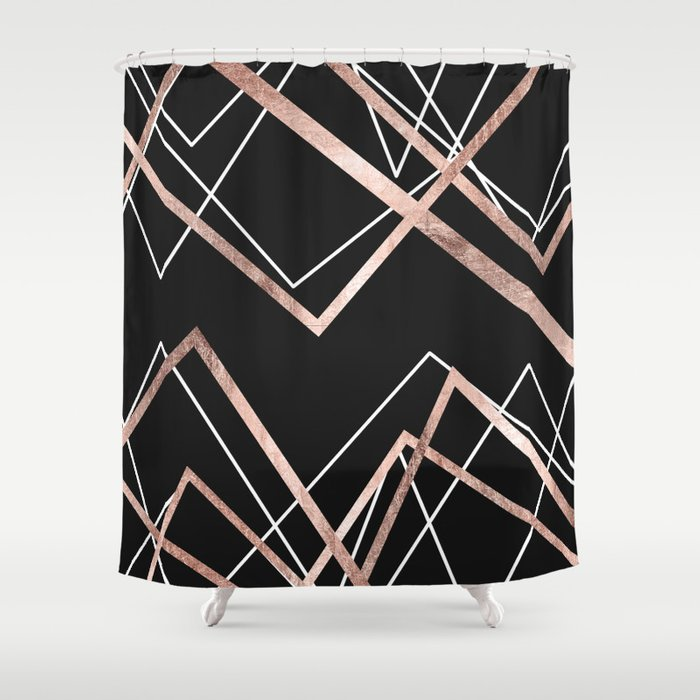 Rose Gold Black Linear Triangle Abstract Pattern Shower Curtain